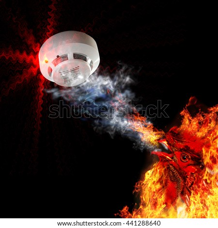 Fire alarm and fire rooster (symbol of fire). A collage of photos. - stock photo