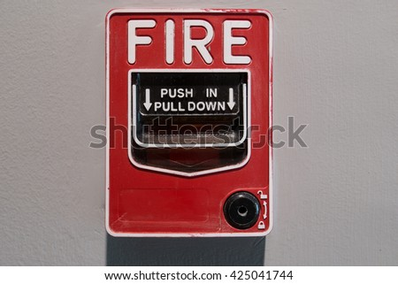 fire alarm box on cement wall for warning and security system
