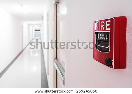 Fire Alarm near door fire exit . - stock photo