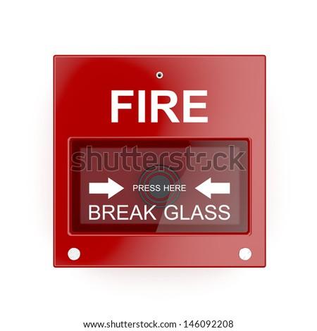 Fire alarm on white wall - stock photo