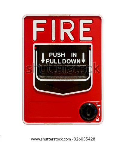 Fire alarm pull station on white background, isolated - stock photo