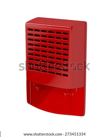 Fire alarm siren isolated on white - stock photo