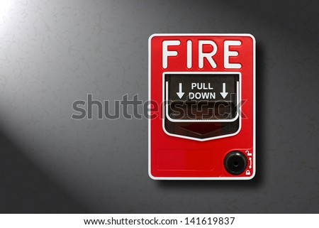 Fire alarm switch fire warn box on the wall