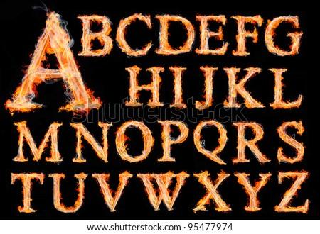 fire alphabet - stock photo