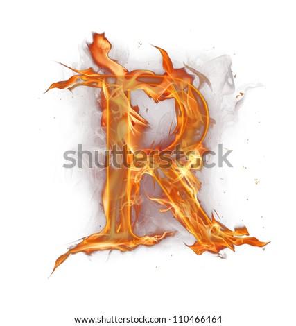 "Fire alphabet letter ""R"" - stock photo"