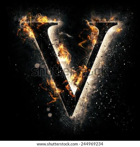 Fire alphabet. Letter V. - stock photo