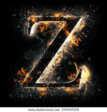 Fire alphabet. Letter Z. - stock photo