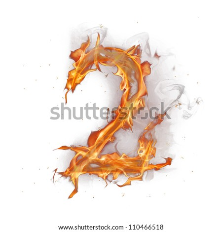 Fire alphabet number 2 - stock photo