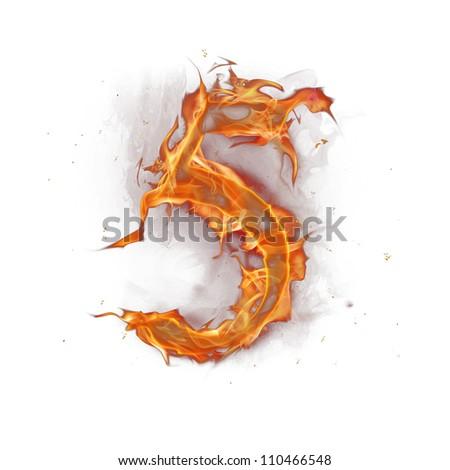 Fire alphabet number 5 - stock photo