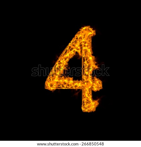 "Fire alphabet number ""4"" isolated on black - stock photo"