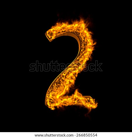 "Fire alphabet number ""2"" isolated on black - stock photo"