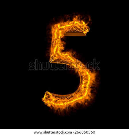 "Fire alphabet number ""5"" isolated on black - stock photo"