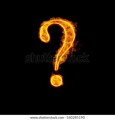 Fire alphabet question mark isolated on black background. - stock photo