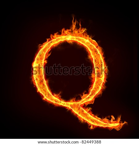 fire alphabets in flame, letter Q