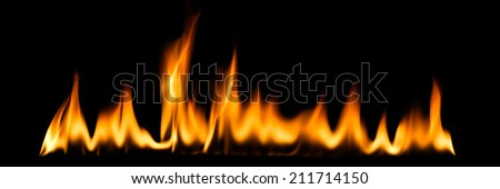 Fire and flames on a black background. - stock photo