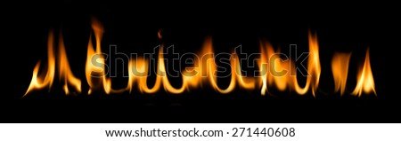 fire and flames on a black background - stock photo