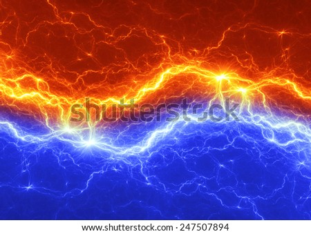 Fire and ice abstract lightning background - stock photo