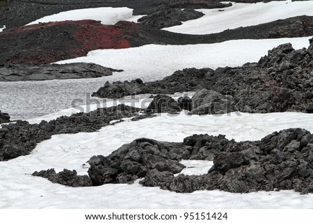 Fire and ice created Iceland's wild landscapes. At Askja volcano deep in the highlands you can see both. Even in the middle of summer. - stock photo