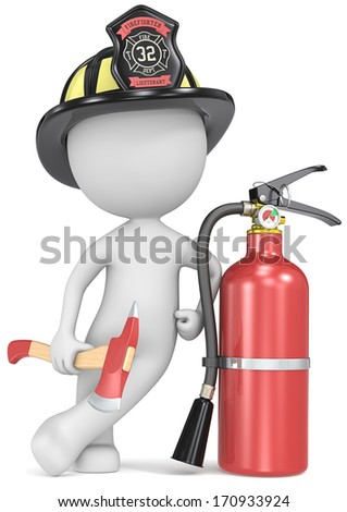 Fire and rescue. Dude the Firefighter holding an axe and fire extinguisher. US Black helmet.