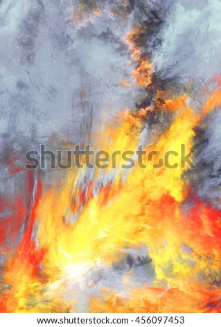 Fire and Smoke. Abstract red and blue painting texture. Abstract warm background. Modern futuristic vibrant fiery pattern. Bright flame dynamic background. Fractal artwork for creative graphic design