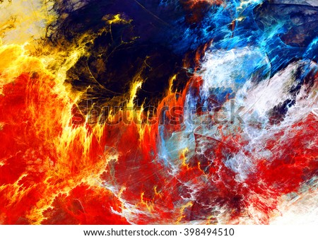 Fire and Water. Abstract red and blue painting texture. Abstract warm background. Modern futuristic vibrant fiery pattern. Bright flame dynamic background. Fractal artwork for creative graphic design