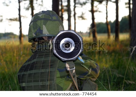 Fire at tank - stock photo