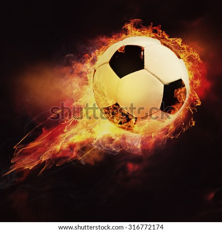Fire ball. Abstract sport soccer and football backgrounds - stock photo
