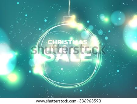 fire ball Christmas sale hot banner. Christmas background. Hand drawn Christmas ball - stock photo