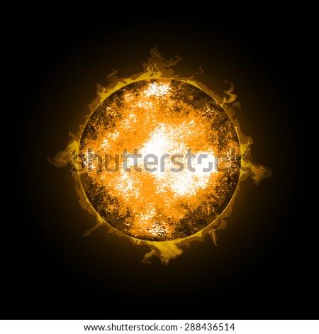 Fire Ball Planet. World on fire. Illustration on black background. Raster version - stock photo