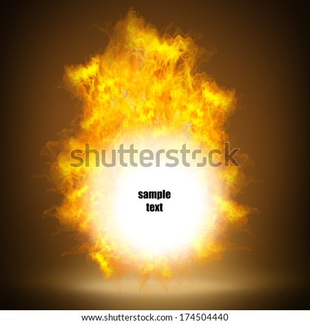Fire ball with free space for text.  High resolution. 3D image  - stock photo