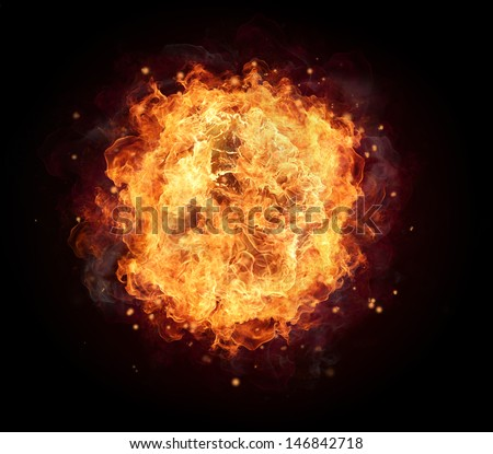 Fire ball with free space for text. isolated on black background - stock photo