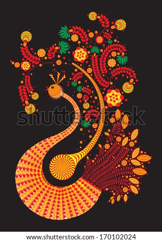 Fire bird with decorative wings and tail patterns isolated on black - stock photo