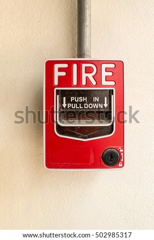 Fire break box on wall background., Fire protection system.