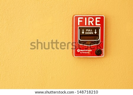 fire break glass Fire alarm in the alarm. - stock photo