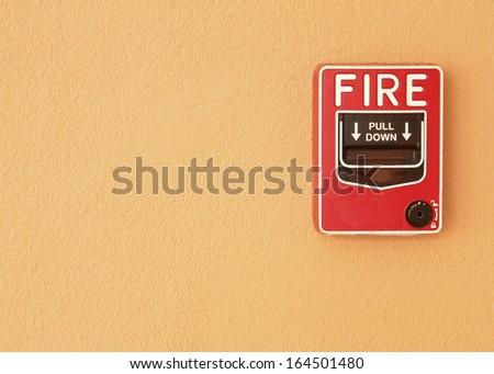 fire break glass Fire alarm in the alarm. - stock photo