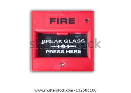 fire break glass isolated white background. - stock photo