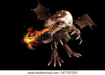 Fire breathing dragon on a black background. Room for text or copy space - stock photo