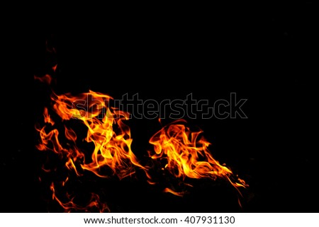 fire burn pattern for background on isolate black  with fire selection channel - stock photo