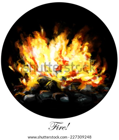 Fire burning flames with coal briquettes in circle design. - stock photo