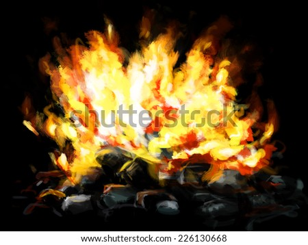Fire burning flames with coal briquettes painted  background - stock photo