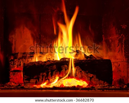 Fire burning in fireplace - stock photo