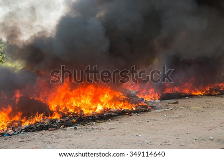 Fire burning of big pile rubbish