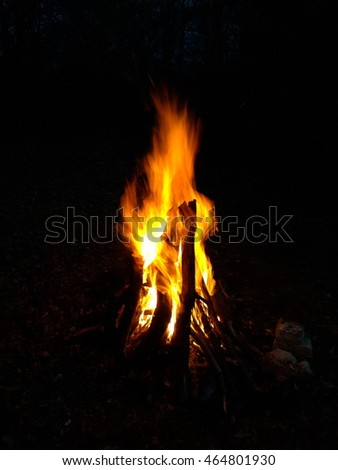 Fire burning on a black background