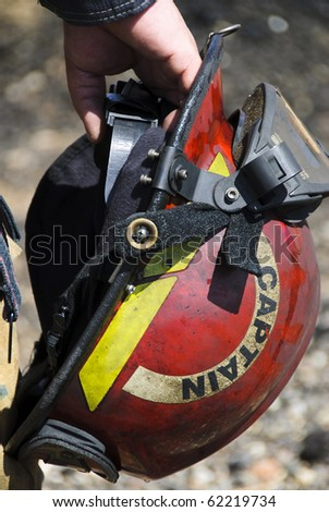 Fire captain helmet. - stock photo
