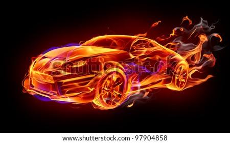 Fire car - stock photo