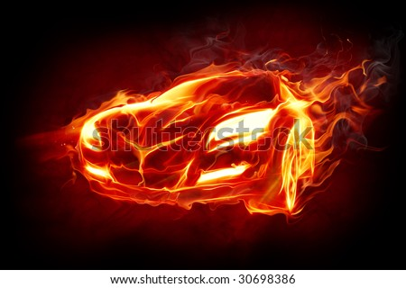 Fire car Series of fiery illustrations - stock photo