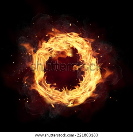 Fire circle with free space for text. isolated on black background - stock photo