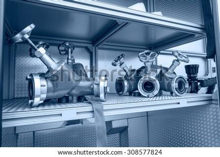 Fire control valve Close up - stock photo