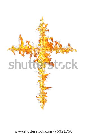 fire cross isolated on white - stock photo