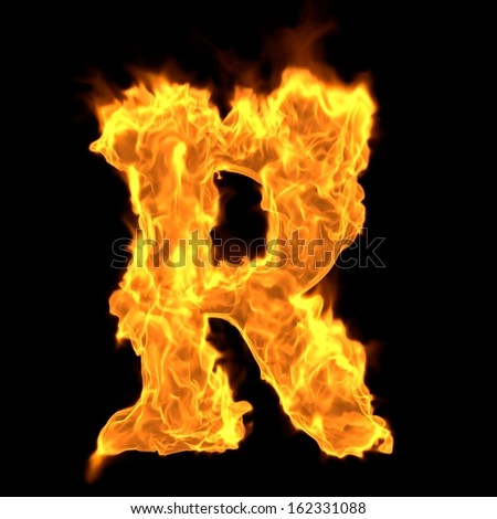 Fire 3d letter collection - O - stock photo